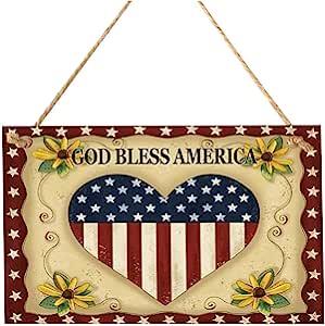 BinaryABC God Bless America 7 月 4 日木制标志牌匾门壁挂装饰,爱国美国国旗装饰
