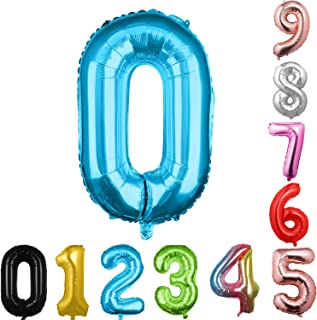 40 英寸大数字气球蓝色气球巨型氦气球 数字 0 1 2 3 4 5 6 7 8 9 生日周年纪念派对婴儿淋浴婚礼装饰节日气球(蓝色 0)