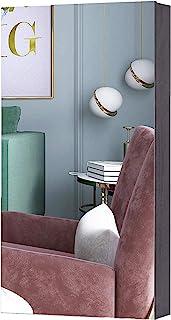 KEDLAN 珠宝橱柜壁挂门安装镜像节省空间收纳架,适用于客厅或卧室,棕色