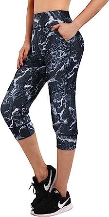 Promover 女式瑜伽慢跑裤带口袋锻炼跑步慢跑运动裤舒适锥形休闲裤