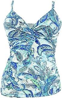 LAUREN RALPH LAUREN 女式 Fiesta 佩斯利图案斜襟钢托肩吊带泳衣