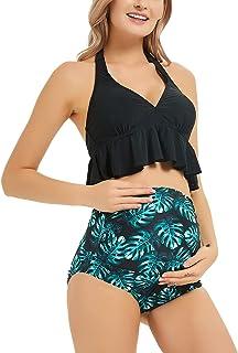 SWEETBUMP 孕妇泳衣两件套荷叶边上衣高腰下装复古泳装比基尼套装泳衣