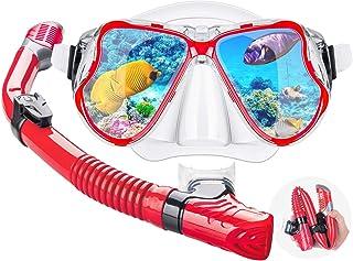 干燥*管面罩套装浮潜装备 – 可折叠干燥*管套装带干湿可切换浮动阀、冲流阀管、防雾180全景硅胶防漏密封面罩适合成人和青少年