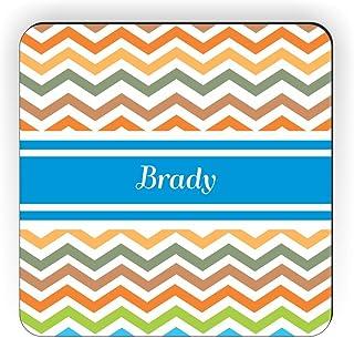 """Rikki Knight""""Brady 蓝色 V 形图案名字设计方形冰箱贴"""