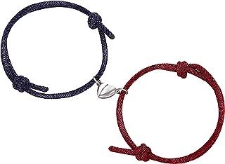 情侣手链可调节磁性手链情侣手链,2 件男女情侣关系手镯