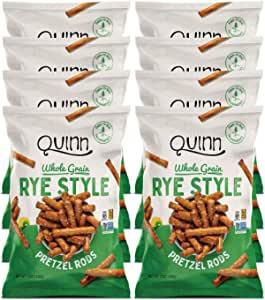 Quinn 零食非转基因和不含麸质椒盐脆饼,熟食风格黑麦,7 盎司袋(8Count)