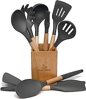 硅胶烹饪用具套装带支架不粘锅厨具硅胶抹刀套装带木柄,10 件硅胶锅铲勺,烹饪小工具套装(深灰色)