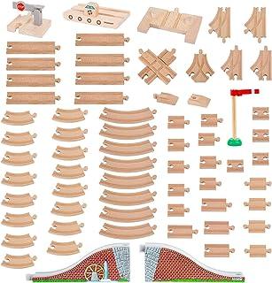 Orbrium Toys 68 件木制火车轨道扩展包兼容托马斯木火车,Brio,Thomas The Tank Engine