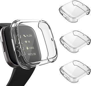 3 件装屏幕保护膜兼容 Fitbit Versa 2 保护套,GHIJKL 超薄柔软 TPU 保护套全覆盖缓冲外壳适用于 Fitbit Versa 2 智能手表 Versa 2: Clear,Clear,Clear