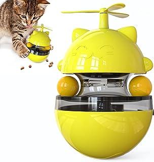 XIAOGO 猫玩具小猫玩具猫用品互动食品分配玩具室内小猫不倒翁风车旋转零食分配器带 2 个小猫球