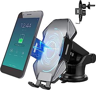 Vchiming 无线车载充电器支架,15W 快速充电自动夹紧车载手机充电器,挡风玻璃仪表板通风手机支架兼容 iPhone 三星 Galaxy,LG 和其他启用 Qi 的设备,灰色