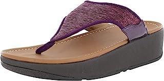 FitFlop 女式 Myla Glitz 脚趾夹趾坡跟凉鞋鞋,甜菜色,美国