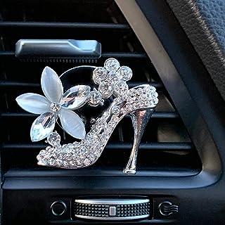 Bling 汽车装饰汽车通风口夹挂件,水晶内饰汽车配件,汽车装饰挂件,汽车闪亮配件 银色 VC-SHEEL1