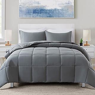 Cosybay 3 件套被子套装 - 绗缝超柔软超细纤维 - 轻质羽绒替代被子带枕套- 四季床上用品套装-大号双人床,深灰色
