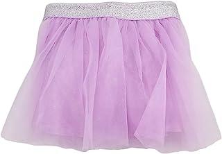 女婴浅紫丁香紫色闪亮薄纱蓬蓬裙银色