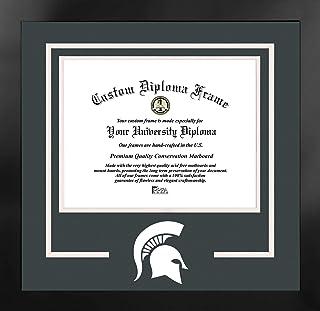 校园图像 NCAA 密歇根州斯巴达人男女通用精神文凭曼哈顿黑框附赠平版版画,黑色,均码