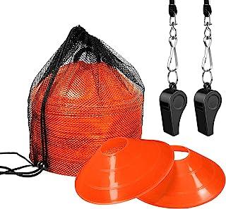 20 个敏捷训练运动锥体,带便携包,专业圆盘足球锥体,2 个口哨,用于训练足球篮球敏捷技能孩子