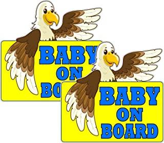 2 件装超可爱的婴儿鹰板反光保险杠贴纸 12.7cm x 12.7cm,反光儿童*标志贴花汽车保险杠卡车车窗防水防紫外线不褪色汽车装饰
