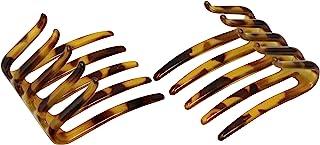 Parcelona 法式螃蟹互锁草原轻壳 中号 6.35 厘米纤维素发夹侧梳 适合女士和女孩