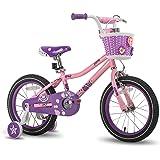 JOYSTAR 女孩自行车,带训练轮,适合 14 英寸和 16 英寸儿童自行车,带支架 适合 18 英寸儿童自行车和过山…