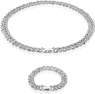 YASUOA 2 件金古巴链,冰出嘻哈链,男士女士,镀金 20.96 厘米金手链和 50.8 厘米金项链