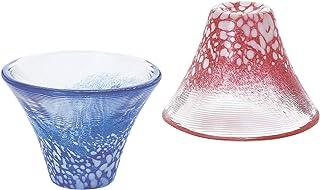 东洋佐佐木玻璃 清酒杯 对装 招福杯 富士山 蓝/红 35ml 2件装 日本制 G635-T72