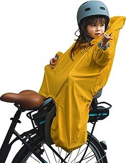 暴雨,防水斗篷婴儿防雨儿童自行车座椅和婴儿自行车背带,袖子和兜帽前后有反光条纹。