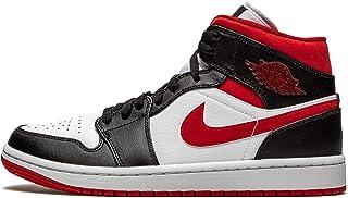 Jordan 男式 1 Mid White/Gym Red-Black (554724 122) -