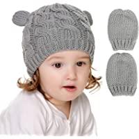 婴儿帽子和手套套装婴儿冬季帽针织婴儿豆豆娃男孩帽子手套