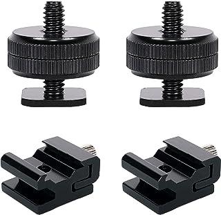 QYXINC 相机热鞋安装适配器闪光鞋安装到 0.64 厘米三脚架螺丝适配器 2 件,金属冷鞋闪光支架适配器,带 0.64 厘米 -20 三脚架螺丝 2 件