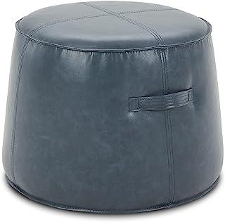 CHITA 皮革 Ottoman 圆形脚架 客厅椅脚凳 麻灰色 蓝色