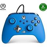 PowerA 增强有线控制器 适用于 Xbox - 蓝色,游戏手柄 有线视频游戏控制器,游戏控制器,Xbox 系列 X…