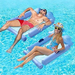 高级泳池浮吊床,4 合 1 多功能泳池吊床,人体工学设计充气泳池躺椅,水吊床休息室,儿童和成人