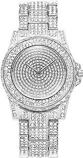 ManChDa 豪华女士手表冰表石英机芯水晶水钻钻石女士不锈钢手表全钻石