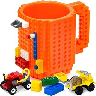 TOYAMBA Build-on Brick 马克杯 - 453.59 ml 不含 BPA 趣味咖啡杯 3 件装积木,儿童趣味杯 - 创意积木马克杯 DIY 礼物创意 橙色 16盎司 NCS-TMB-002