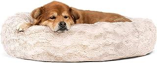 "Best Friends by Sheri Lux Fur Donut Cuddler (多种尺寸) – 圆形甜圈猫和狗垫床,矫正,自我加热和舒适改善* – 优质可机洗,防水底部 牡蛎 30x30"""