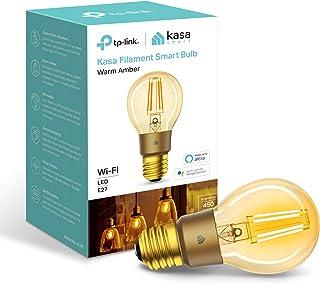TP-Link Smart WiFi灯丝灯泡,E27,5 W,兼容Amazon Alexa(Echo 和 Echo Dot),Google Home和IFTTT,可调光,暖琥珀色,无需集线器[能源等级A+]