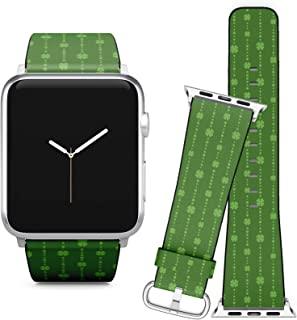 与 Apple Watch iWatch 苹果手表 iWatch 系列 5、4、3、2、1 // 软皮革替换手镯表带 + 适配器 /三叶草绿珠兼容 42 / 44 mm