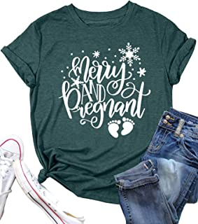 EXMIUN Merry and Pregnant 衬衫女士孕妇衬衫圣诞节怀孕公告 T 恤