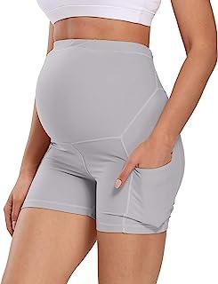 "V VOCNI 孕妇短裤女式运动跑步自行车打底裤运动锻炼瑜伽步行短裤 5"" Light Grey Small"