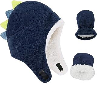 男婴帽幼儿新生儿帽子夏尔巴内衬保暖羊毛男孩帽冬季手套套装配件 *蓝 恐龙 2-4T