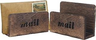 木制信件收纳盒,台面邮箱,桌面收纳和配件,适用于办公室和家庭(2 包)