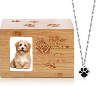 2 件木制宠物缸和爪子项链纪念狗猫奶油缸吊坠项链适用于宠物狗猫小型动物灰缸带相框