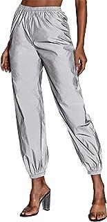 MAKEMECHIC 女式反光运动慢跑裤长运动弹性腰运动裤