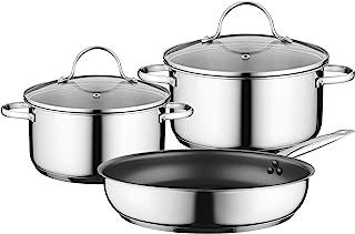Bosch 博世 HEZ9SE030 炉灶配件 / 炊具套装 / 2 个带玻璃盖 / 1 个平底锅 / 不锈钢 / 适用于电磁炉 / 可用洗碗机清洗 / 烤箱适用