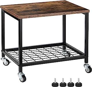台下打印机支架,2 层打印机推车架,带储物架,可锁定的车轮,金属框架,工业滚动打印机桌面支架,适用于办公室、家庭、扫描仪、打印机 - 乡村棕色