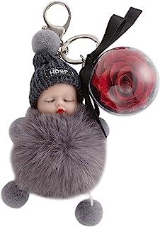 永生鲜玫瑰花钥匙扣可爱娃娃钥匙圈环魅力配件钱包和汽车钥匙包