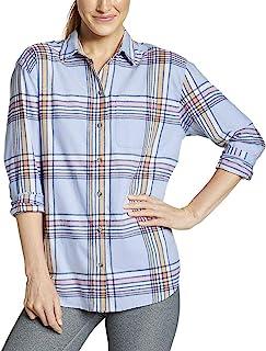 Eddie Bauer 女式 Stine's Favorite 法兰绒男友衬衫 - 图案