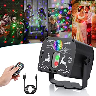 圣诞派对灯光,声音激活和时间功能迪斯科灯 适用于派对 60 种不同图案 DJ 灯 适合节日圣诞派对生日