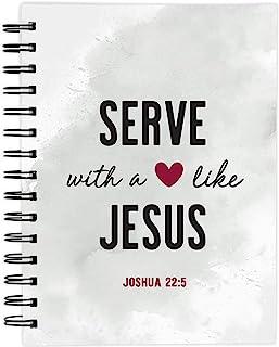 宗教螺旋笔记本,像耶稣一样的心服务,非常适合写作、祈祷日志和列表,6 x 8 英寸